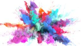 Χρώμα που εκρήγνυται - ζωηρόχρωμη καπνού άλφα μεταλλίνη μορίων έκρηξης ρευστή απεικόνιση αποθεμάτων