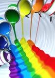 Χρώμα που χύνεται για να κάνει έναν ποταμό ουράνιων τόξων Στοκ εικόνα με δικαίωμα ελεύθερης χρήσης