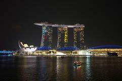 Χρώμα πόλεων της Σιγκαπούρης και σκηνή φωτισμού Στοκ Εικόνες