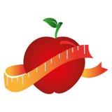 Χρώμα σκιαγραφιών με το μήλο και τη μέτρηση της ταινίας διανυσματική απεικόνιση