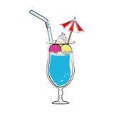 Χρώμα σκιαγραφιών με το ποτό κοκτέιλ με τα φρούτα και το άχυρο και τη διακοσμητική ομπρέλα Στοκ εικόνες με δικαίωμα ελεύθερης χρήσης