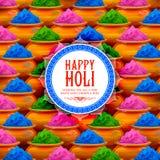 Χρώμα σκονών gulal για το ευτυχές υπόβαθρο Holi Στοκ Εικόνες