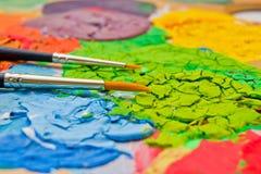 Χρώμα στο pallette Στοκ φωτογραφία με δικαίωμα ελεύθερης χρήσης
