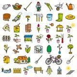 Χρώμα συνόλου εργαλείων εικονιδίων κήπων Στοκ εικόνες με δικαίωμα ελεύθερης χρήσης