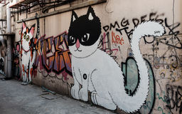 Χρώμα τέχνης οδών στον τοίχο στη Μπανγκόκ Στοκ φωτογραφίες με δικαίωμα ελεύθερης χρήσης