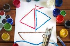 Χρώμα τεχνών αριθμού σε ένα άσπρο φύλλο στοκ φωτογραφία με δικαίωμα ελεύθερης χρήσης