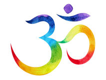 χρώμα 7 του chakra OM, aum έννοια συμβόλων, ζωγραφική watercolor ελεύθερη απεικόνιση δικαιώματος