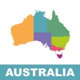 Χρώμα χαρτών της Αυστραλίας με τις περιοχές Στοκ Εικόνες
