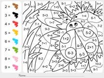 Χρώμα χρωμάτων από τους αριθμούς - φύλλο εργασίας προσθηκών και αφαίρεσης για την εκπαίδευση Στοκ φωτογραφίες με δικαίωμα ελεύθερης χρήσης