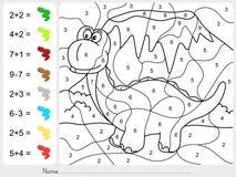 Χρώμα χρωμάτων από τους αριθμούς - φύλλο εργασίας προσθηκών και αφαίρεσης για την εκπαίδευση Στοκ Εικόνες