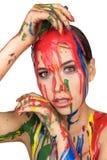 Χρώμα χρωμάτων που στάζει κάτω στο πρόσωπο Στοκ εικόνες με δικαίωμα ελεύθερης χρήσης
