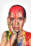 Χρώμα χρωμάτων που στάζει κάτω στο πρόσωπο Στοκ φωτογραφίες με δικαίωμα ελεύθερης χρήσης