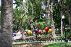 Χρώμα baloons και λουλούδια σε ένα πάρκο Στοκ φωτογραφίες με δικαίωμα ελεύθερης χρήσης