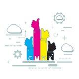 Χρώμα CMYK για τον εκτυπωτή Inkjet Στοκ Φωτογραφία