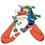Χρώμα Santa κινούμενων σχεδίων με το ευτυχές μικρό παιδί Στοκ φωτογραφίες με δικαίωμα ελεύθερης χρήσης