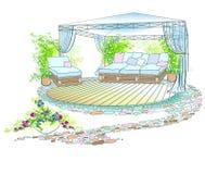 Χρώμα umbrello καναπέδων κήπων ελεύθερη απεικόνιση δικαιώματος