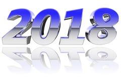 Χρώμιο 2018 ψηφία με τις αντανακλάσεις κλίσης χρώματος στο στιλπνό άσπρο υπόβαθρο απεικόνιση αποθεμάτων