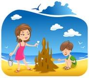χτίζοντας άμμος κάστρων ελεύθερη απεικόνιση δικαιώματος