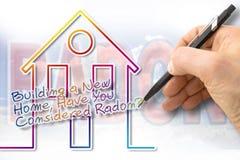 Χτίζοντας ένα νέο σπίτι, έχετε εξετάσει το ραδόνιο; - Εικόνα έννοιας στοκ φωτογραφίες
