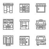 Χτίζοντας εικονίδια γραμμών προσόψεων απλά Στοκ Εικόνες