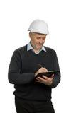 Χτίζοντας επιθεωρητής που ελέγχει το αντικείμενο στοκ εικόνα με δικαίωμα ελεύθερης χρήσης