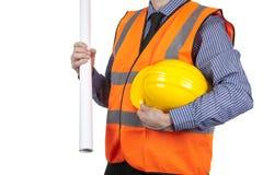 Χτίζοντας επιθεωρητής στην πορτοκαλιά φανέλλα διαφάνειας που φέρνει κίτρινο σκληρό Στοκ Εικόνα