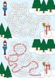 Χτίζοντας λαβύρινθος χιονανθρώπων Στοκ Φωτογραφία