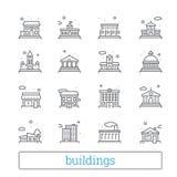 Χτίζοντας λεπτά εικονίδια γραμμών Κοινό, κυβέρνηση, εκπαίδευση και προσωπικά σπίτια Σύγχρονα γραμμικά διανυσματικά στοιχεία σχεδί ελεύθερη απεικόνιση δικαιώματος