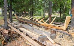 Χτίζοντας ξύλινη βάρκα Στοκ Φωτογραφίες