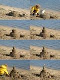 χτίζοντας παιδί sandcastle Στοκ Εικόνες