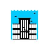 χτίζοντας πλημμύρα Πλημμυρίζοντας σπίτι πολλές από την αρχιτεκτονική νερού Delu διανυσματική απεικόνιση
