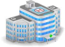 χτίζοντας συρμένο διανυσματικό λευκό απεικόνισης νοσοκομείων χεριών διανυσματική απεικόνιση