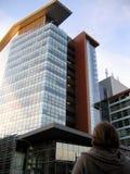 χτίζοντας σύγχρονη στο κέντρο της πόλης υψηλή άνοδος Στοκ Εικόνα