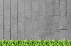 Χτίζοντας τοίχος και πράσινο υπόβαθρο χλόης ελεύθερη απεικόνιση δικαιώματος
