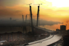 Χτίζοντας χρυσό κέρατο γεφυρών, Βλαδιβοστόκ Στοκ Εικόνες