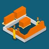 Χτίζοντας Isometric έμβλημα εργατών οικοδομών διανυσματική απεικόνιση
