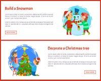 Χτίστε το χιονάνθρωπο, διακοσμήστε ιστοσελίδας χριστουγεννιάτικων δέντρων απεικόνιση αποθεμάτων