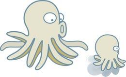 Χταπόδι, καλαμάρι Mom και γιος που βουτά στον μπλε ωκεανό ελεύθερη απεικόνιση δικαιώματος