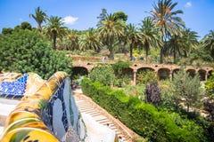 χτισμένο σχεδιασμένο διάσημο πάρκο Ισπανία gaudi του Antoni του 1914 του 1900 η Βαρκελώνη guell στα έτη Στοκ εικόνα με δικαίωμα ελεύθερης χρήσης