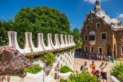 χτισμένο σχεδιασμένο διάσημο πάρκο Ισπανία gaudi του Antoni του 1914 του 1900 η Βαρκελώνη guell στα έτη Στοκ Εικόνα