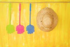 Χτυπήματα μυγών και ένα καπέλο αχύρου, πανούκλα των εντόμων στις διακοπές Symboli στοκ φωτογραφία με δικαίωμα ελεύθερης χρήσης