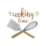 Χτυπήστε ελαφρά ή κουζίνα, που μαγειρεύει την ουσία για τη διακόσμηση επιλογών έμβλημα λογότυπων ψησίματος ή ετικέτα, χαραγμένο χ Στοκ εικόνες με δικαίωμα ελεύθερης χρήσης