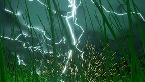 Χτύπημα θύελλας φωτισμού με το πέταγμα σπινθήρων απεικόνιση αποθεμάτων
