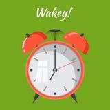 Χτύπημα ξυπνητηριών κινούμενων σχεδίων Ξυπνήστε έννοια πρωινού Επίπεδο desig διανυσματική απεικόνιση