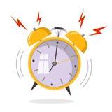 Χτύπημα ξυπνητηριών κινούμενων σχεδίων Ξυπνήστε έννοια πρωινού Επίπεδο desig απεικόνιση αποθεμάτων