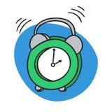 Χτύπημα ξυπνητηριών Ξυπνήστε χρόνος πρωινού απεικόνιση αποθεμάτων