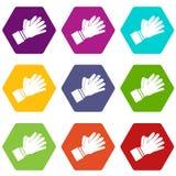 Χτύπημα του καθορισμένου χρώματος εικονιδίων χεριών επιδοκιμασίας hexahedron ελεύθερη απεικόνιση δικαιώματος