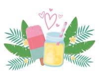 Χυμός ανανά και popsicle σχέδιο απεικόνιση αποθεμάτων