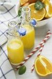 Χυμός από πορτοκάλι στα μπουκάλια και τα πορτοκάλια Στοκ Εικόνες