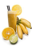 Χυμός ασβέστη και μπανανών με το πορτοκάλι Στοκ φωτογραφία με δικαίωμα ελεύθερης χρήσης